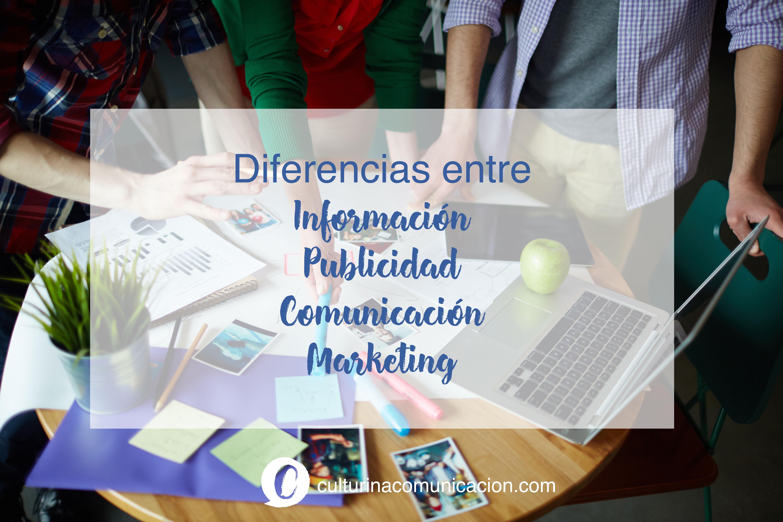 Diferencias entre información publicidad comunicación marketing, culturina comunicación