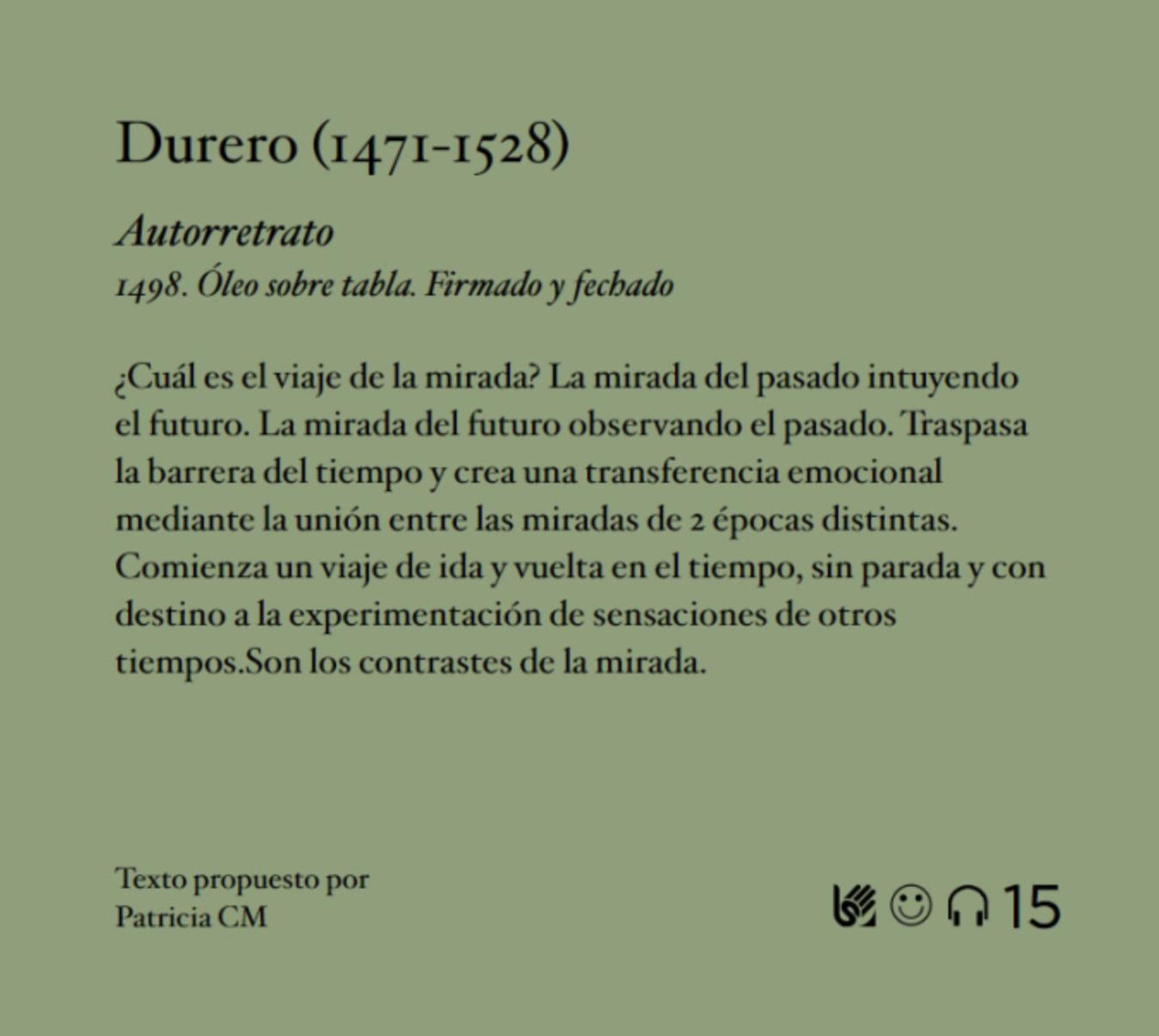 Concurso cartela abierta, cartela seleccionada Durero, Museo del Prado, Culturina Comunciación