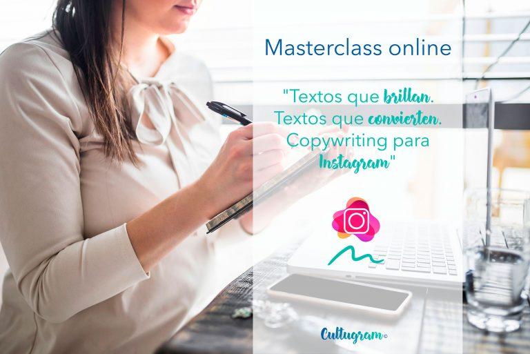 Masterclass online sobre copywriting para instagram, culturina comunicación